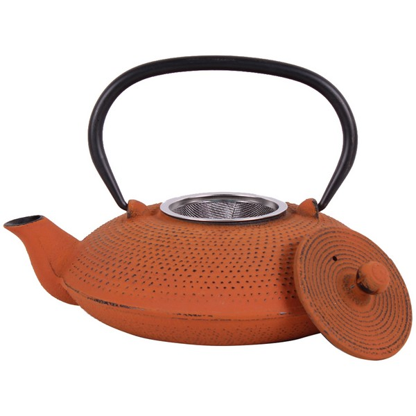 Чугунен чайник с цедка LF, 800 ml, оранжев